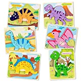 JOLIGAEA 6 Piezas 3D Dinosaurios Puzzle de Madera, Juguetes Montessoris, Puzzles de Madera Educativos, Educativos Rompecabezas Juegos Regalo Preescolar de Aprendizaje Temprano para Niñas y Niños