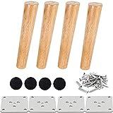 Drenky 4 piezas 20cm patas de madera para muebles patas de mesa de madera maciza cónica patas de sofá oblicuas patas de repuesto para muebles con placa de montaje tornillos y protector antideslizante