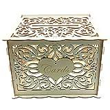 Alnicov Caja de madera para tarjetas de boda, caja de dinero con ranura para cerradura, caja de dinero de madera para boda, recepción, aniversario, fiesta de graduación, decoración de fiesta