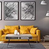WOMO-DESIGN Mesa de Centro Moderna 100 cm Madera Maciza de Mango Gris 2 Cajones y Patas de Horquilla Metal Negro Mesita Decorativa para Salón Diseño Retro Escritorio Auxiliar para Sala de Estar