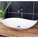 Lavabo de diseño lavabo sobre encimera 66.5 x 40 cm moderno lavabo oblongo de cerámica blanco