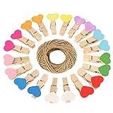 Thursday April 100 Pcs Mini Pinzas de Madera Coloridas Clavijas en Forma de Corazón Fotográfico con Hilo de Yute de 30 Metros para Decoraciones de Bricolaje
