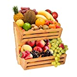 Hossejoy - Frutero de bambú de 2 niveles para servir fruta y aperitivos, perfecto para frutas, verduras, aperitivos, artículos del hogar y mucho más