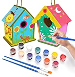 Miystn Casita Pajaros Exterior, Mini Pajarera de Madera, Casa Pajaros Usado para Educativo Woodcraft Rompecabezas de Juguete DIY Kit (2 Piezas, Casita para Pájaros)