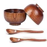 Liseng Juego de 4 cuencos de madera hechos a mano y llfel, para arroz, Miso Servicio de cocina