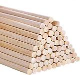 Varillas de bambú para manualidades, 30 cm / 11,8 pulgadas para proyectos de manualidades, varillas largas de madera para bricolaje, 55 piezas de varillas de bambú de alta calidad (6mm/0.24inch)