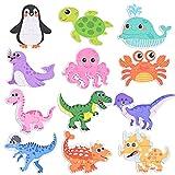 GOLDGE 12pcs Puzzles de Madera niños 2 años, Puzzles de Madera Educativos para Bebé, Puzzles 1 2 3 4 5 años, Puzzles de Animales Marinos Dinosaurios, Rompecabezas de Madera para 4 niños