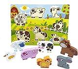 RB&G Puzzle de madera con grandes piezas – Puzzle de animales de safari, para niños a partir de 1 año conejo & Co.