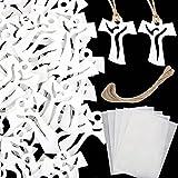 FLOFIA 55pcs Colgantes Collar Cruz Jesus de Madera con Cuerda Pegamento para Hombre Mujer Católico Comunión Decoración de Bautismo Fiesta Belen Regalo Jerusalén Tierra Santa, 3.3 * 4cm