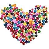 Dokpav 600 Piezas Cuentas de Madera Colores, Abalorios Madera Colores, Abalorios Madera para Hacer Pulseras y Collares, 6mm,8mm,10mm