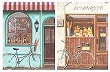 Cuadro de Madera Bicicleta Vintage. Placas de Madera Set de 2 Cuadros de 19 cm x 25 cm x 4 mm unid. Adhesivo FÁCIL COLGADO. Adorno Decorativo. Decoración Pared hogar