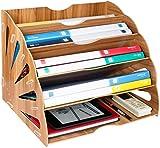 Bandejas de Madera para Archivar Papelería de Escritorio de Madera Grande, Organizador de Archivos, Bandeja para Papel A4, Revista, Papel y Documentos (5 capas)