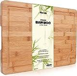 Tabla de Cortar De Bambú Orgánico Superior De Harcas. Tabla de Cortar Extra Grande 44.5cm X 30cm X 2cm. Lo Mejor Para Carne, Verduras Y Queso. Grado Profesional Por Fuerza Y Durabilidad