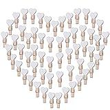 100pcs Mini Pinzas de Madera Pequeñas con Corazón Blanca 3.5cm Adorno de Fotos Ropa para Celebración Navidad Boda Papel Fotográfico Clips de Artesanía