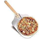 EKKONG Pala para Pizza, Palas para Pizzas Profesional, Pala de Aluminio para Pizza, Mango de Madera, Utilizado en el Horno, Pizza Horneada a Mano y Tostadas 60x30,5cm