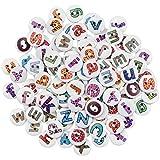 Botones Madera 100 Piezas 15mm Alfabeto Botones de Madera Colores, Formas Redondas, Mixto Botones para costura y Manualidades, Bricolaje