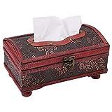 Soporte de servilletas decorativas rectangulares de caja de pañuelos retro con hebilla de cerradura Contenedor de papel de madera para decoración de oficina en casa