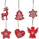 Pulluo 30 PCS Colgantes de Madera para Navidad Kit de Adornos para Arboles de Navidad de Madera Adornos de Madera de Fiesta Xmas Decoracion Accesorios (6 Estilos, 5 Cada Uno, Rojo