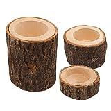 Healifty - Juego de 3 portavelas de madera, para decoración rústica de boda, fiesta de cumpleaños