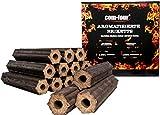com-four Briquetas de carbón de 10 kg Hechas de Madera de Manzana, carbón de Madera 100% Natural para ahumadores, pellets y Parrillas (10 kg - briquetas con Sabor)