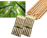 ESTART 20 pares de palillos de bambú, diseño de articulación de bambú, cabeza cuadrada, palillos calientes, palillos para servir, palillos de madera, palillos reutilizables, 24 cm