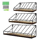 PETAFLOP Juego de 3 estanterías flotantes de Alambre de Metal con Tabla de Madera rústica, Longitud 41/34/28 cm