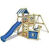 WICKEY Parque infantil de madera SeaFlyer con columpio y tobogán azul, Casa de juegos de jardín con arenero y escalera para niños