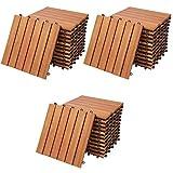 Deuba Set de 33 baldosas 'Clásico' de madera de Eucalipto 30 x 30 cm por 3m² losas de terraza jardín balcón spa