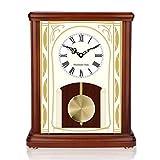 WZCXYX Reloj de repisa Antiguo, Reloj de Escritorio de Madera Maciza silencioso Retro Europeo, Bateria cargada (tamaño: 10.6inX12.7inX5in) Marrón Rojizo