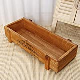 Deaum - Jardinera rectangular de madera rústica para plantas suculentas, hierbas, flores, estilo vintage