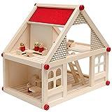 EYEPOWER Casa de Muñecas en Madera para niños y niñas | 2 Plantas 4 habitaciónes 11 Muebles 4 Personajes | Casita en Miniatura fácil de Montar
