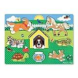 Melissa & Doug- Pets Peg Mascotas Juego Puzzle con 8 Piezas, Multicolor (19053)