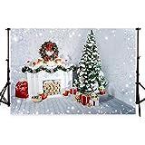 WaW Navidad Interior Fondo Navidad Firtree Chimenea fotografía Fondo Madera Luces Regalos Cajas Foto Studio Stand decoración de Navidad para la fotografía de la Feliz año (3x2m, Natale16)