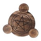 MINGSTORE Candelero de Madera, pentáculo de astrología, Placa de Altar, adivinación, candelabro mágico, Adornos de energía para Mesa