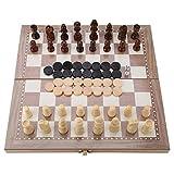 Estink Juego de ajedrez, 12'x12 de Madera 3 en 1 Ajedrez y Damas y Backgammon Tablero Plegable Juego de ajedrez de Mesa portátil de Viaje Juego de Juguete