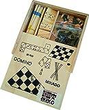 Ekeko Gambler, 4 Juegos en una Caja de Madera. Ajedrez, Damas, Domino y Mikado. Ekeko Gambler, 4 Sets in a Box. Chess, Checkers, Dominoes and Mikado.