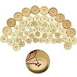 150 botones de madera, 4 agujeros, botones de madera natural, varios tamaños hechos a mano, forma redonda, botón para coser manualidades, decoraciones (15/20/25 mm)