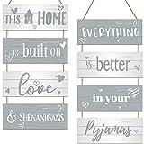 2 Juegos de Letreros de Listones Colgantes para Hogar de This Home is Built on Love and Shenanigans Placa de Madera de Home con Cuerdas para Hogar Familia DIY Manualidades