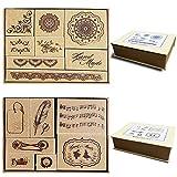 15 piezas de sello de goma de madera/hojas de sello para álbum de fotos decorativo, conjunto de sellos de bloc de notas de diario de bricolaje Patrones, 2 cajas, patrón'hand made'