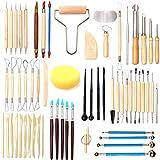 Domilay Juego de 61 herramientas de arcilla de cerámica y arcilla polimérica, herramientas de cerámica, madera, escultura, arcilla, herramientas de limpieza
