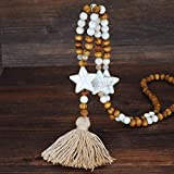 Collar de borla de cadena suéter largo hecho a mano bohemio Colgante de joyería de cuentas de madera