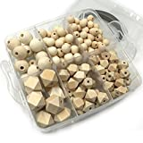 Coskiss DIY Combinación de Joyería de Enfermería Combinación Natural Natural Round Geometría Hexágono Madera Beads Bebé Teether Juguetes Set (A111)