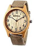 Alienwork Reloj Unisex Relojes Hombre Mujer Cañamazo Verde Analógicos Cuarzo Amarillo Impermeable bambú Natural Hecho a Mano