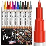 PINTURA bolígrafos para Rock pintura, piedra, cerámica, cristal, madera, metal y más. Extra punta fina punta, juego de 12 marcadores de pintura a base de agua. Mejor para Detailed Art & CRAFT