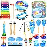Wesimplelife Set de juguetes de madera para instrumentos musicales, instrumentos de percusión para niños y niñas con mochila de almacenamiento