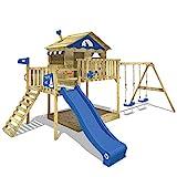 WICKEY Parque infantil de madera Smart Coast con columpio y tobogán azul, Casa sobre pilares de exterior con arenero y escalera para niños