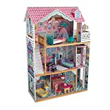 KidKraft 65079 Casa de muñecas de madera Annabelle para muñecas de 30cm con 17 accesorios incluidos y 3 niveles de juego