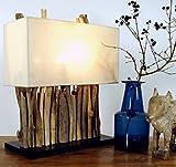 Guru-Shop Lámpara de Mesa/lámpara de Mesa Okawango, Hecha a Mano en Bali a Partir de Material Natural, Madera de Deriva, Algodón - Modelo Okawango, Maderaaladeriva, 40x35x16 cm