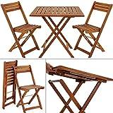 Deuba Conjunto de balcón de Madera de Acacia Juego de 1 Mesa y 2 sillas Plegables 60x60cm