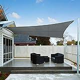 AXT SHADE Toldo Vela de Sombra Rectangular 3 x 4 m, protección Rayos UV Impermeable para Patio, Exteriores, Jardín, Color Gris